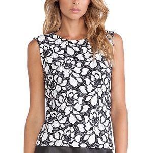 Diane von Furstenberg Tops - DVF black & white floral print tank top 0 betty